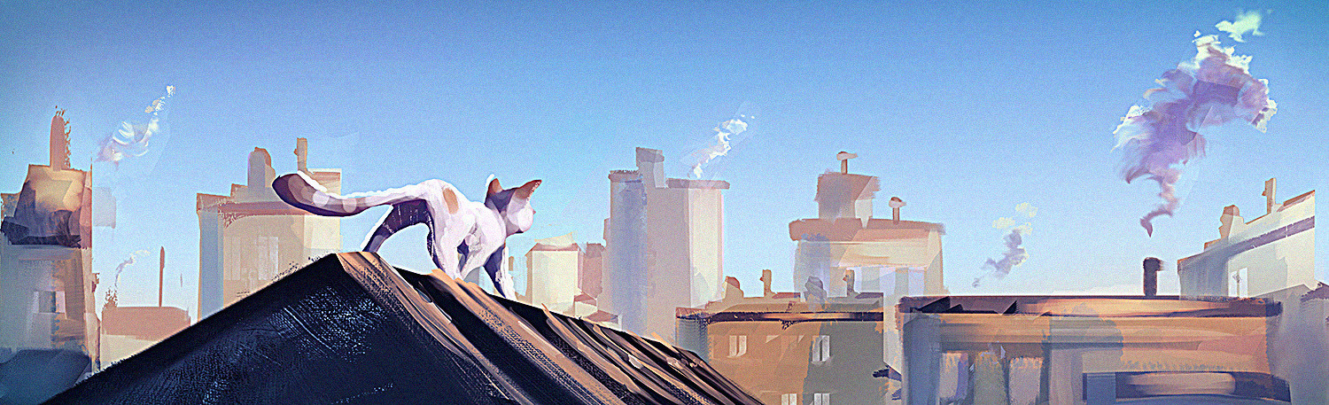 Catsy on top of the world - quick morning warm up sketch
