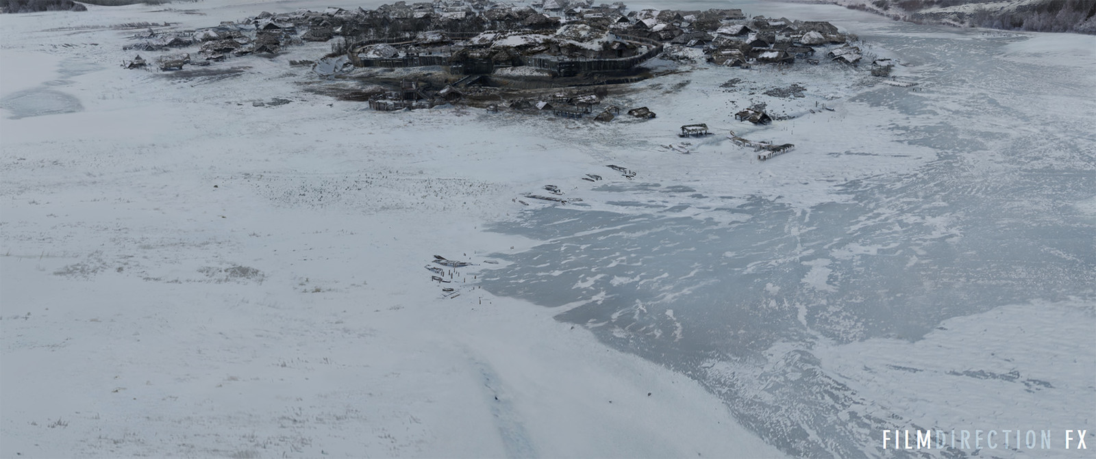 I was responsible for the most part of the nature in the shot - frozen river, most of the ground plane and also little bits of human constructions outside the main village body.