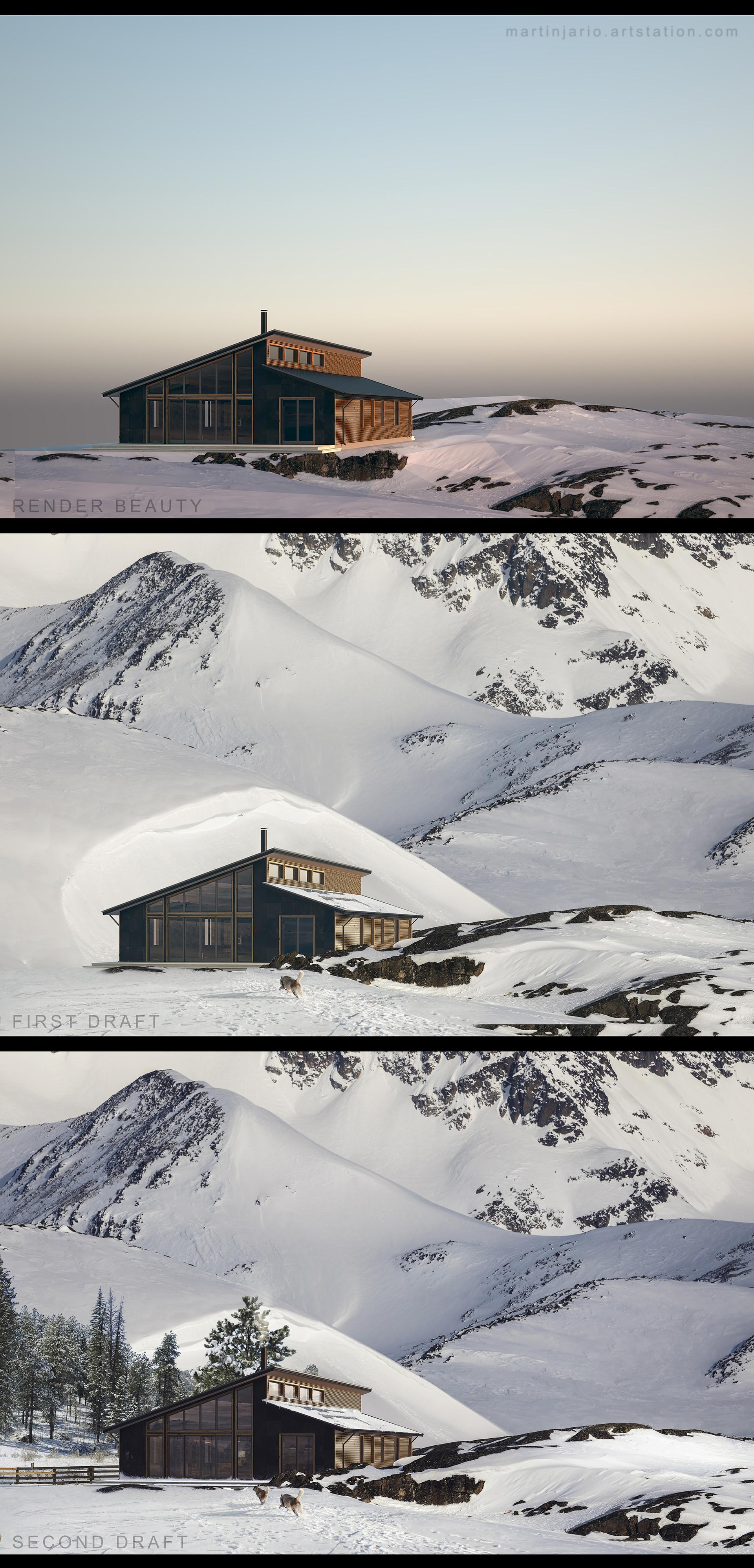 Martin jario artstation martinjario snowy mountains process
