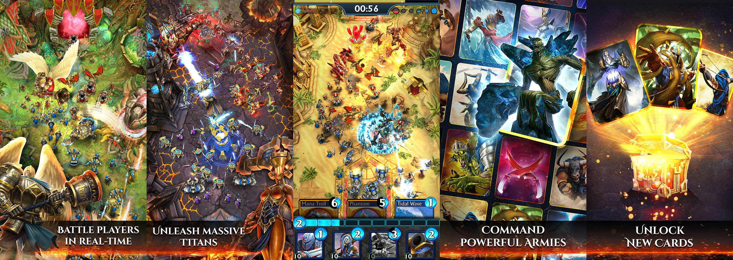 App Store screenshots created for the mobile game Siege: Titan Wars.