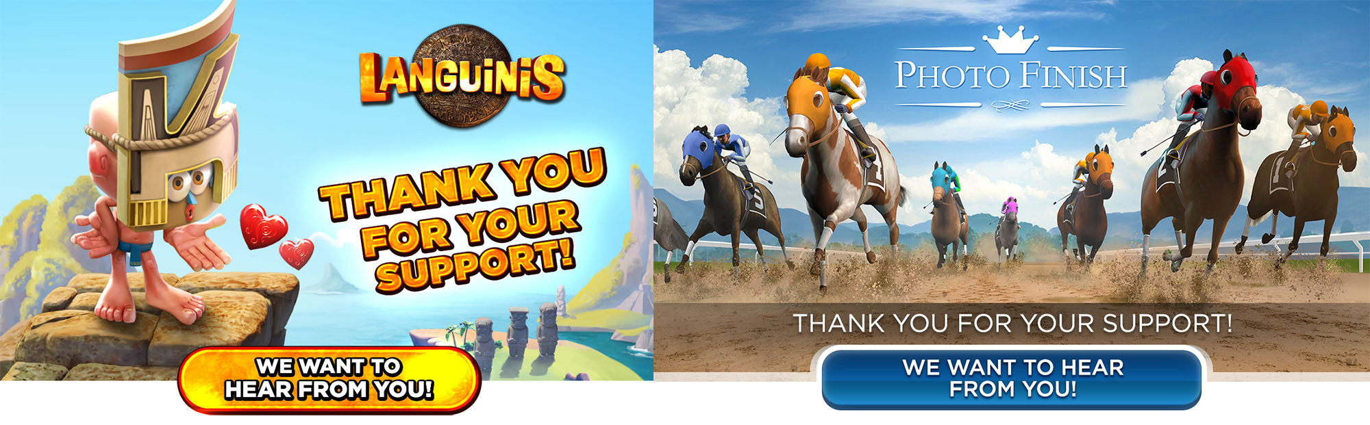E-mail headers for Languinis and Photo Finish: Horse Racing.