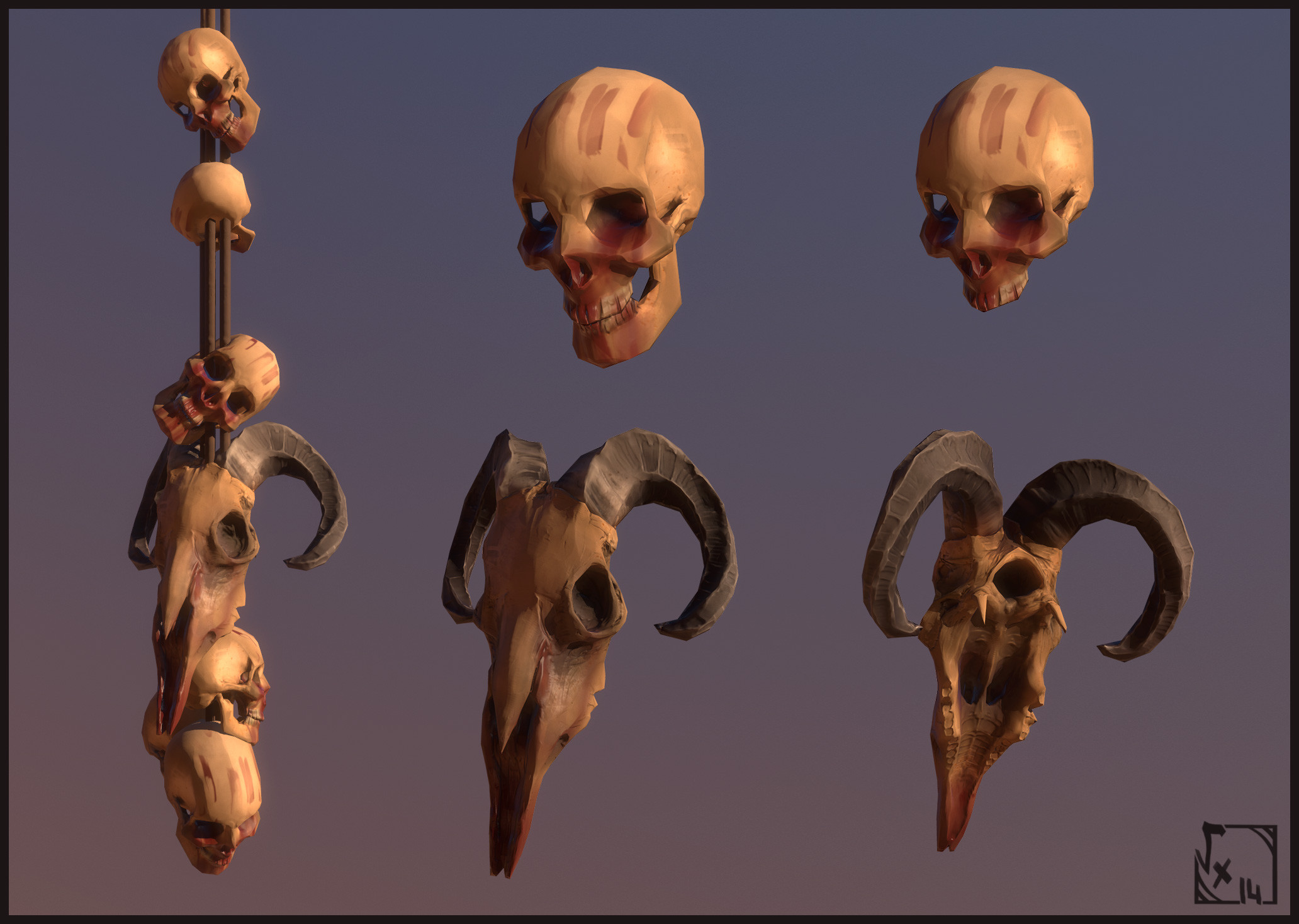 Skulls - Used to add creepy modd on some parts, and at a time they were used as physical assets which you can interact with by shooting them