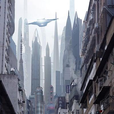 Scott richard matte sci fi city street by scott richard