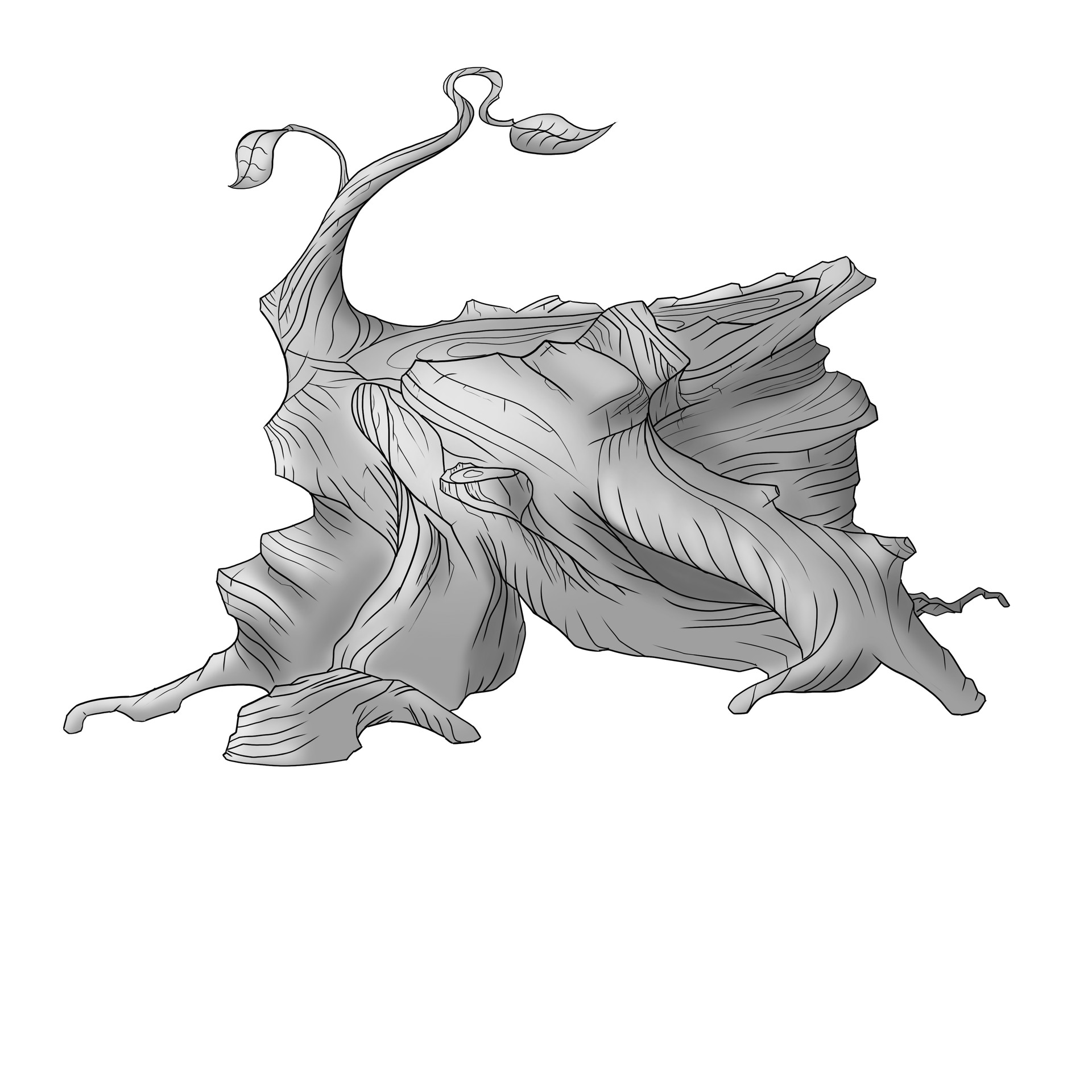 Zak katara tree stump tattoo finalgray