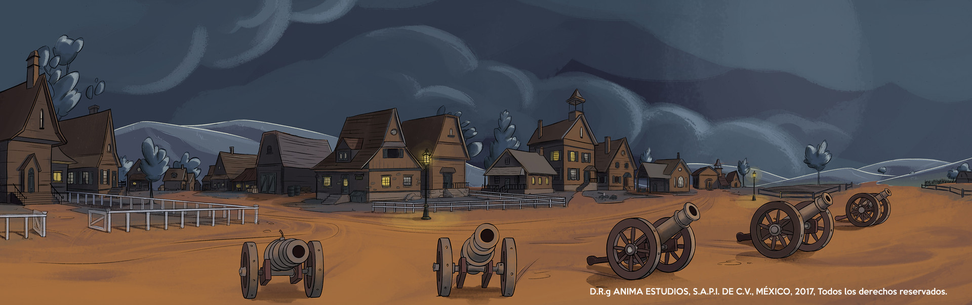 The town outskirts, with night palette.
