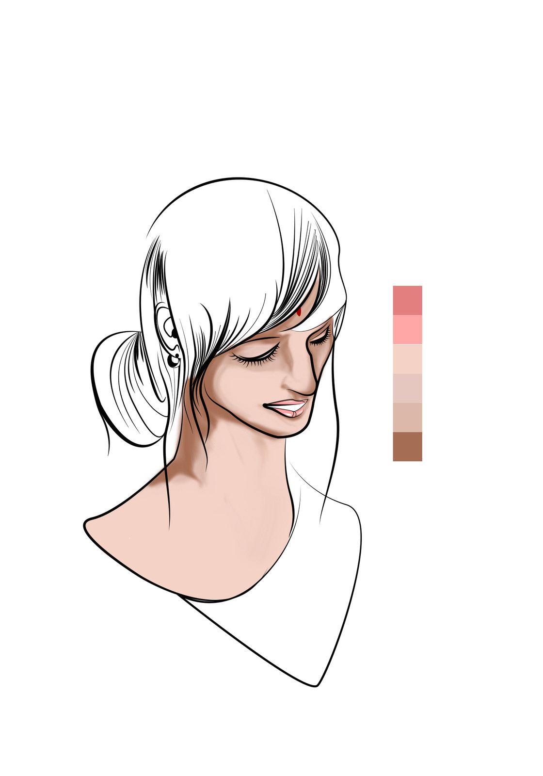 seven - Base coloring more detail (Skin)