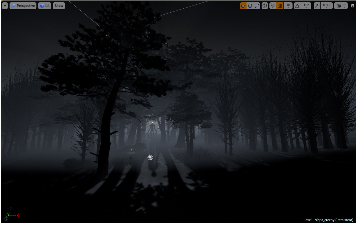 Further out screenshot of the scene setup