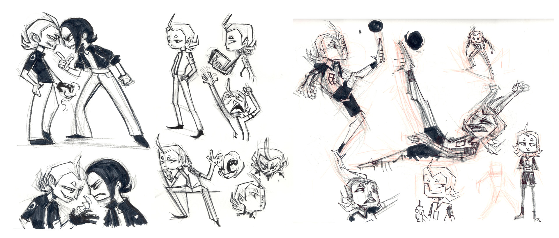 Early developmental sketches of Ken's rival, Silas Whatley.