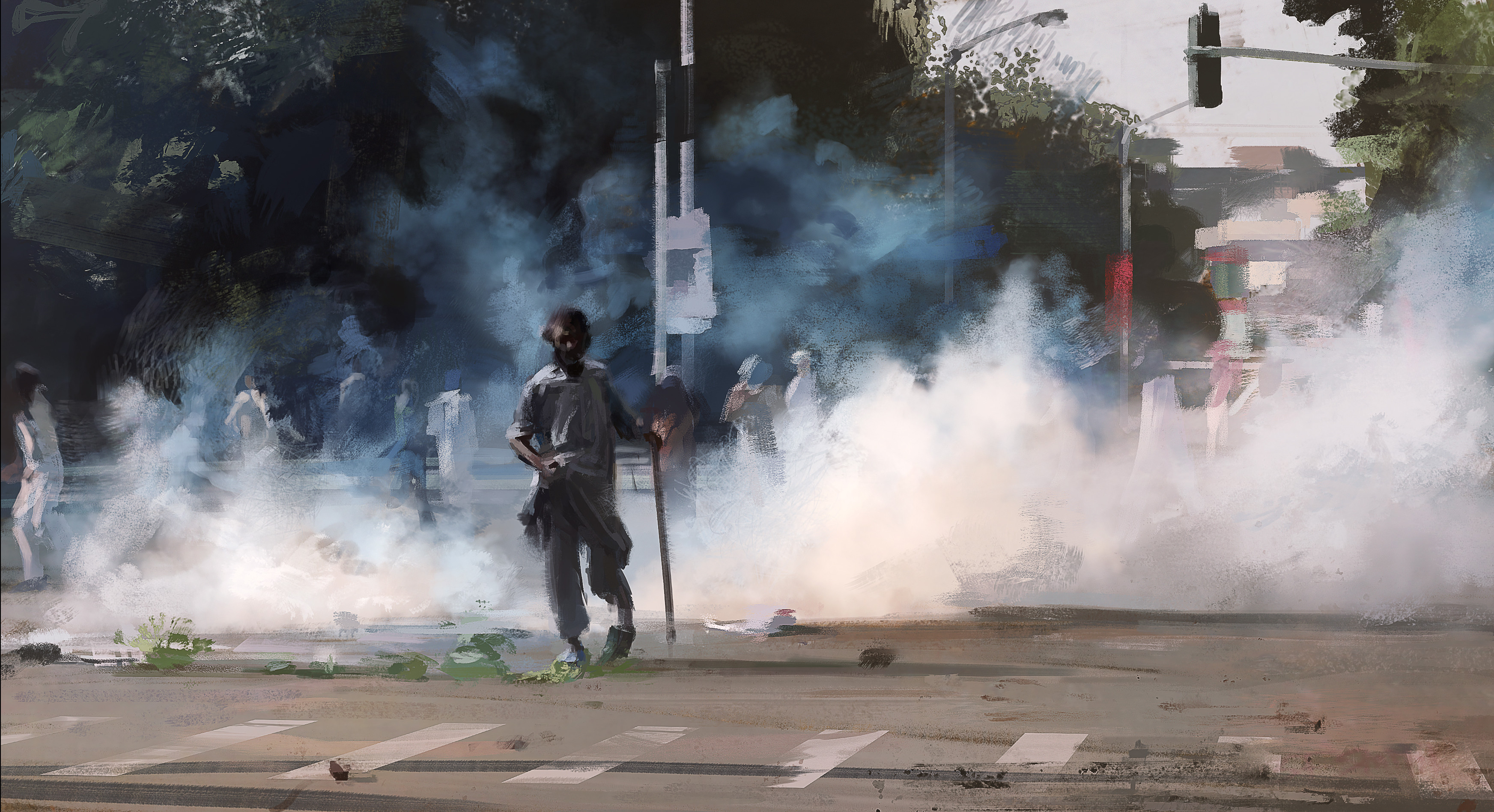 Quick speed paint of teargas in Pakistan.