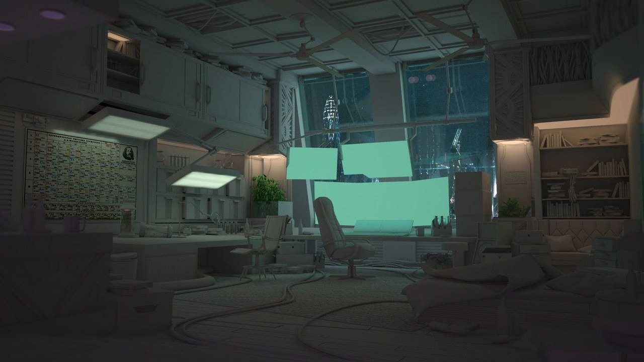 Artstation Cyberpunk Room Yeghor Gallagher