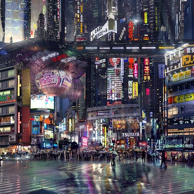 Scott richard sci fi city street night by scott richard v2 deviant