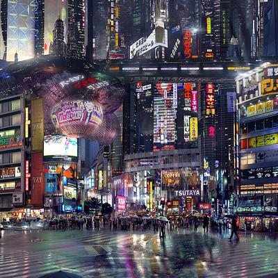 Scott richard sci fi city street night by scott richard v2 deviant