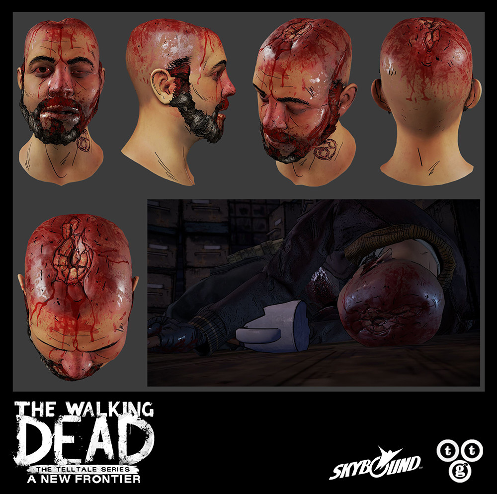 Baseball bat to the head, second stage damage, on Badger for The Walking Dead: A New Frontier. For the damaged area, I did the sculpting, low-poly, integrated the new mesh into the existing head, bakes, and textures.