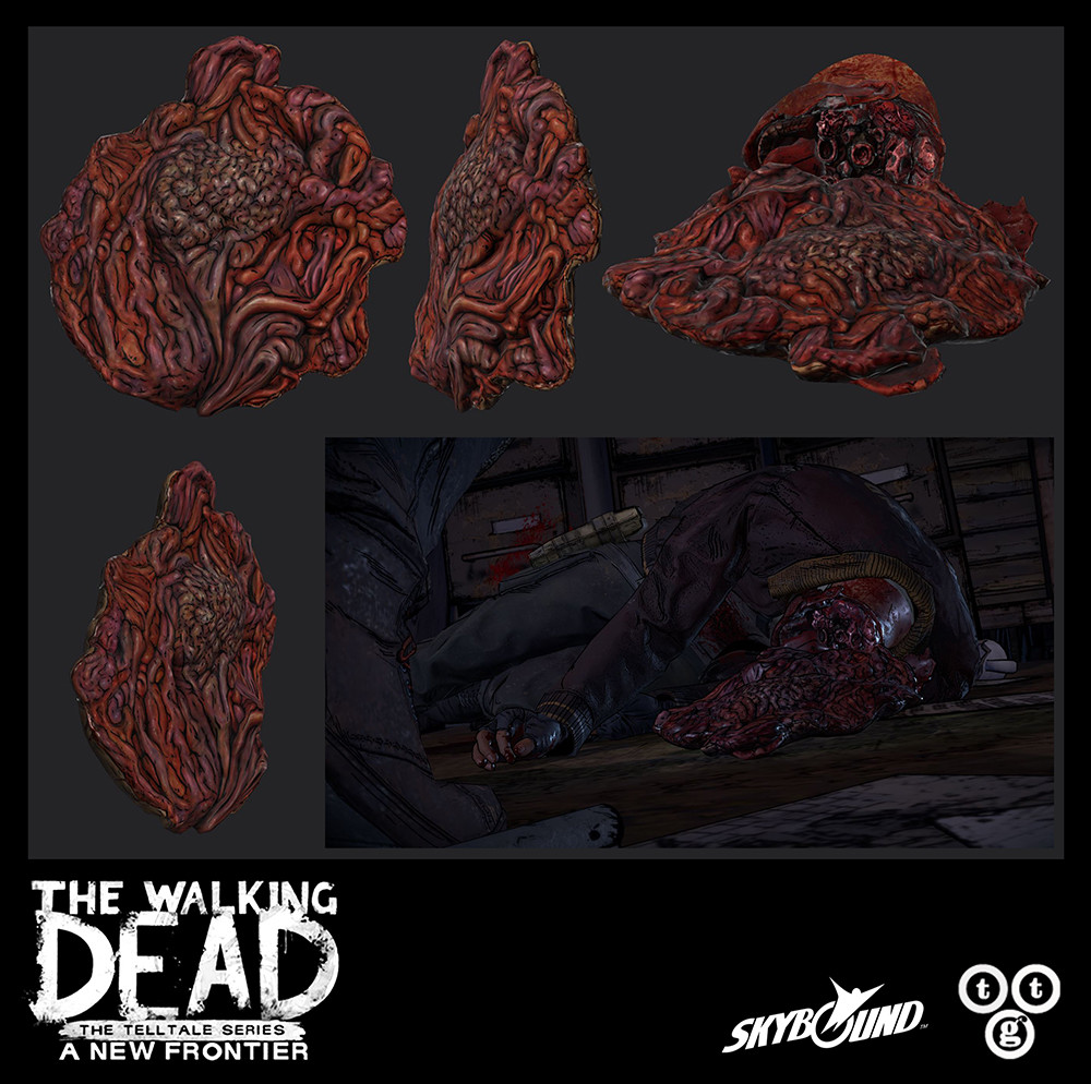 Baseball bat to the head, third stage damage, on Badger for The Walking Dead: A New Frontier. For the main portion, I did the sculpting, low-poly, bakes, and textures. I pieced together the rest off the head using existing meshes.