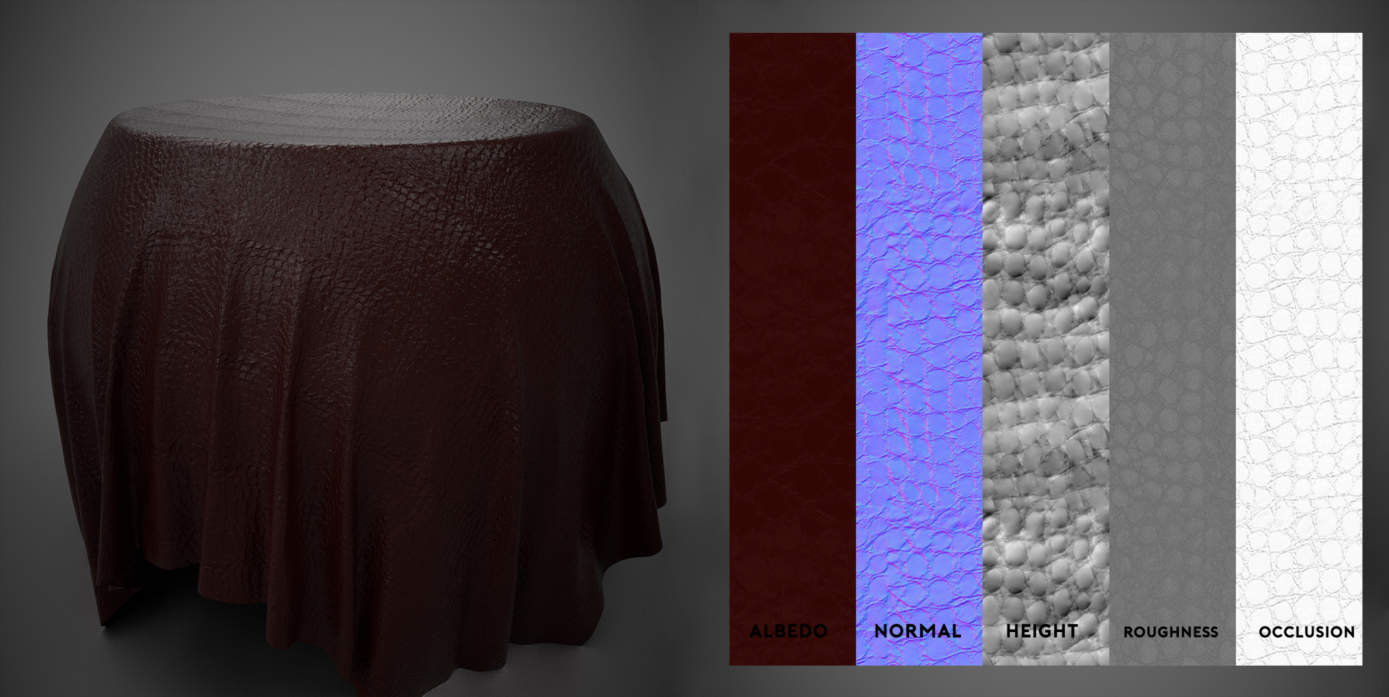 Crocodile Leather - Substance Material Scan