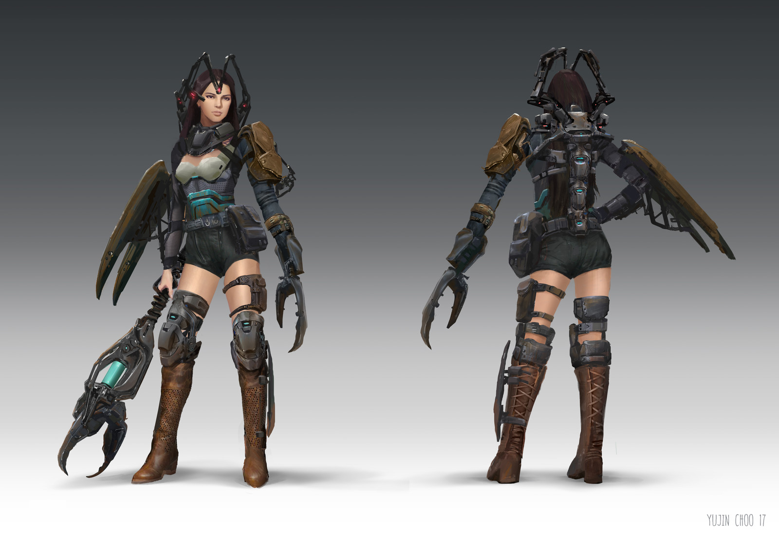 Character design from design class, front and back view.