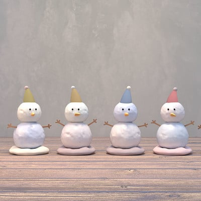 Tzuyu kao at cute little snowmen plasticine toy 1116ss