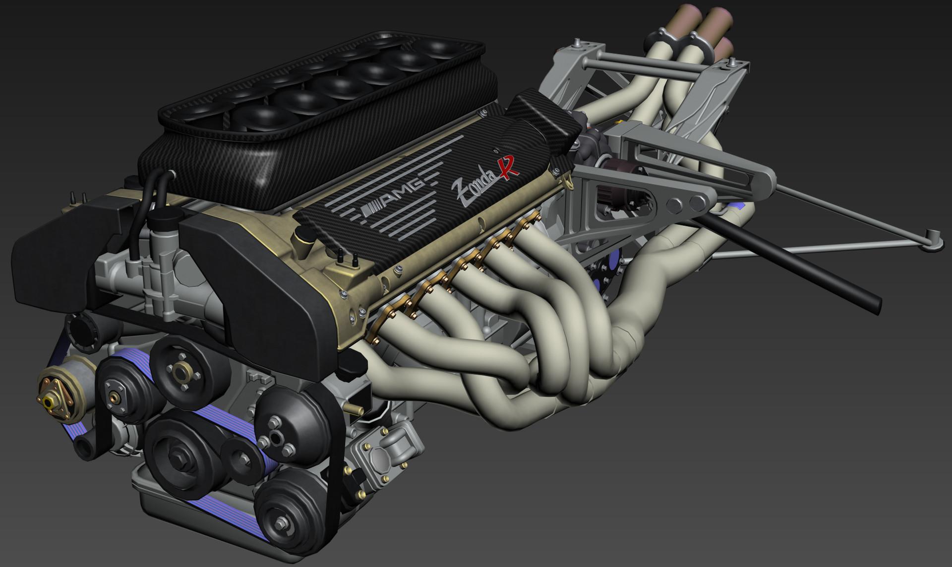 Artstation Pagani Zonda R Engine Bay Andrea Sanna