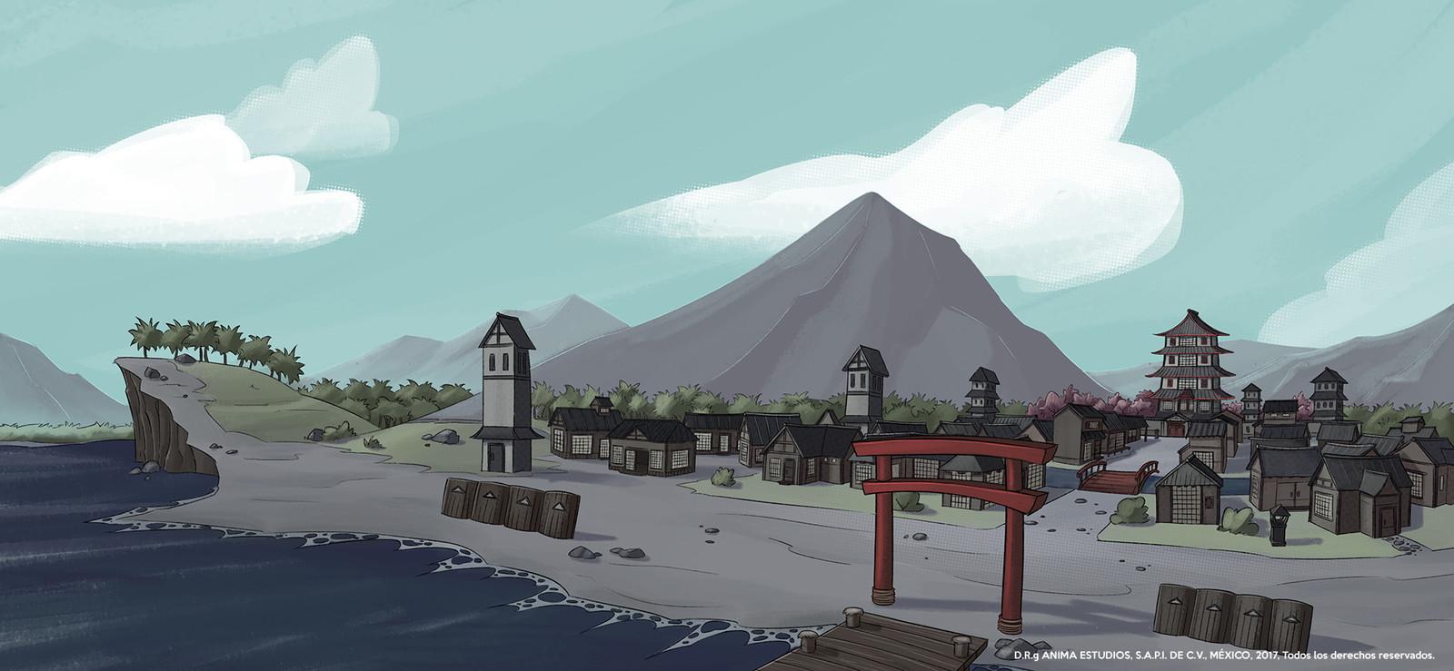 Stablishing shot for the japanese village.