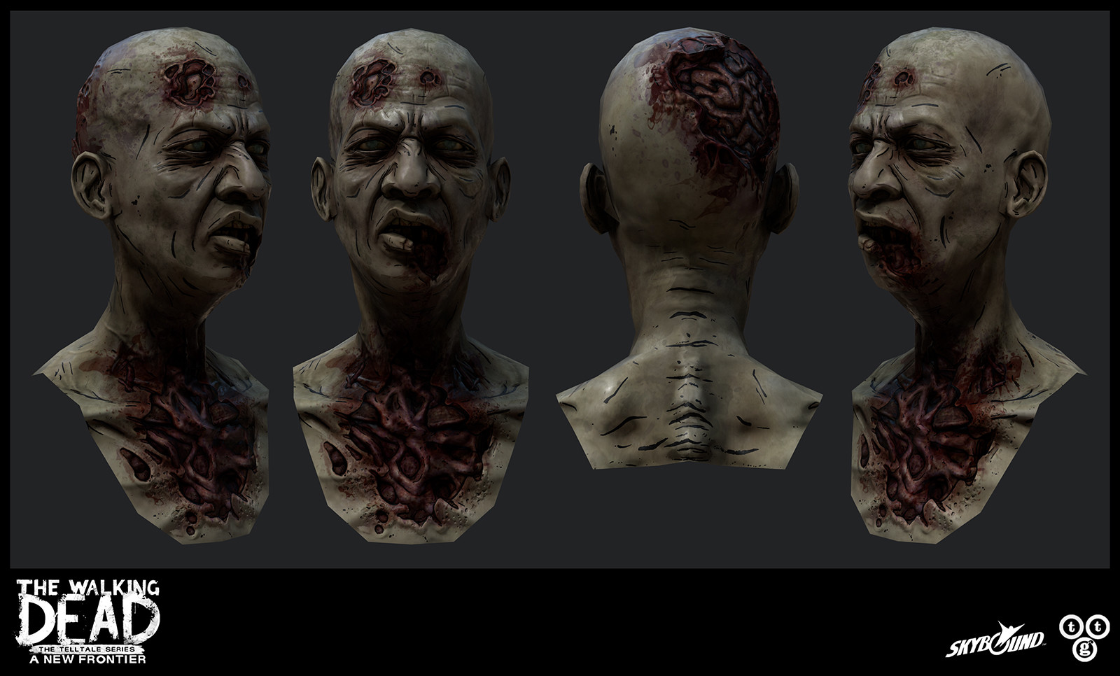 Some quick renders of this zombie head.