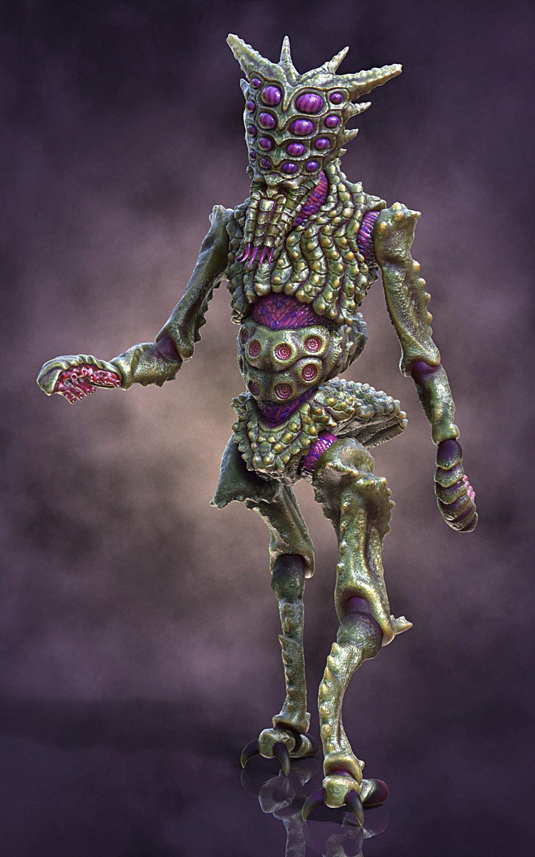 Ken calvert alien insectoid renders front 3qrt