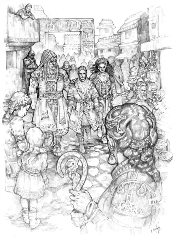 EARTHDAWN: On the Run - the three characters in the middle are fleeing from their persecutor