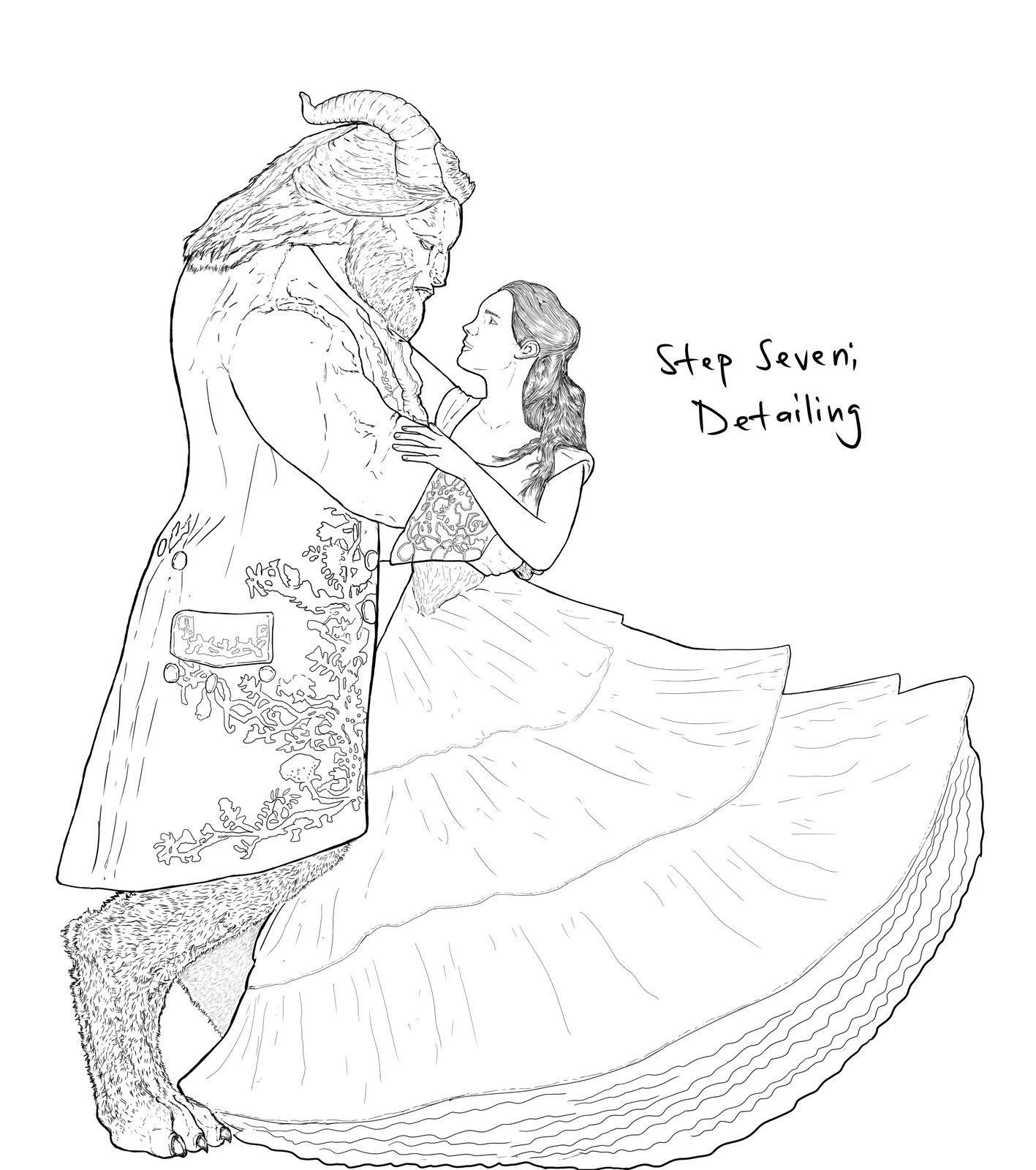 Backlog Daily Art Workout [Figure Drawing](Day 266): Beauty and the Beast  Step 7 of 7