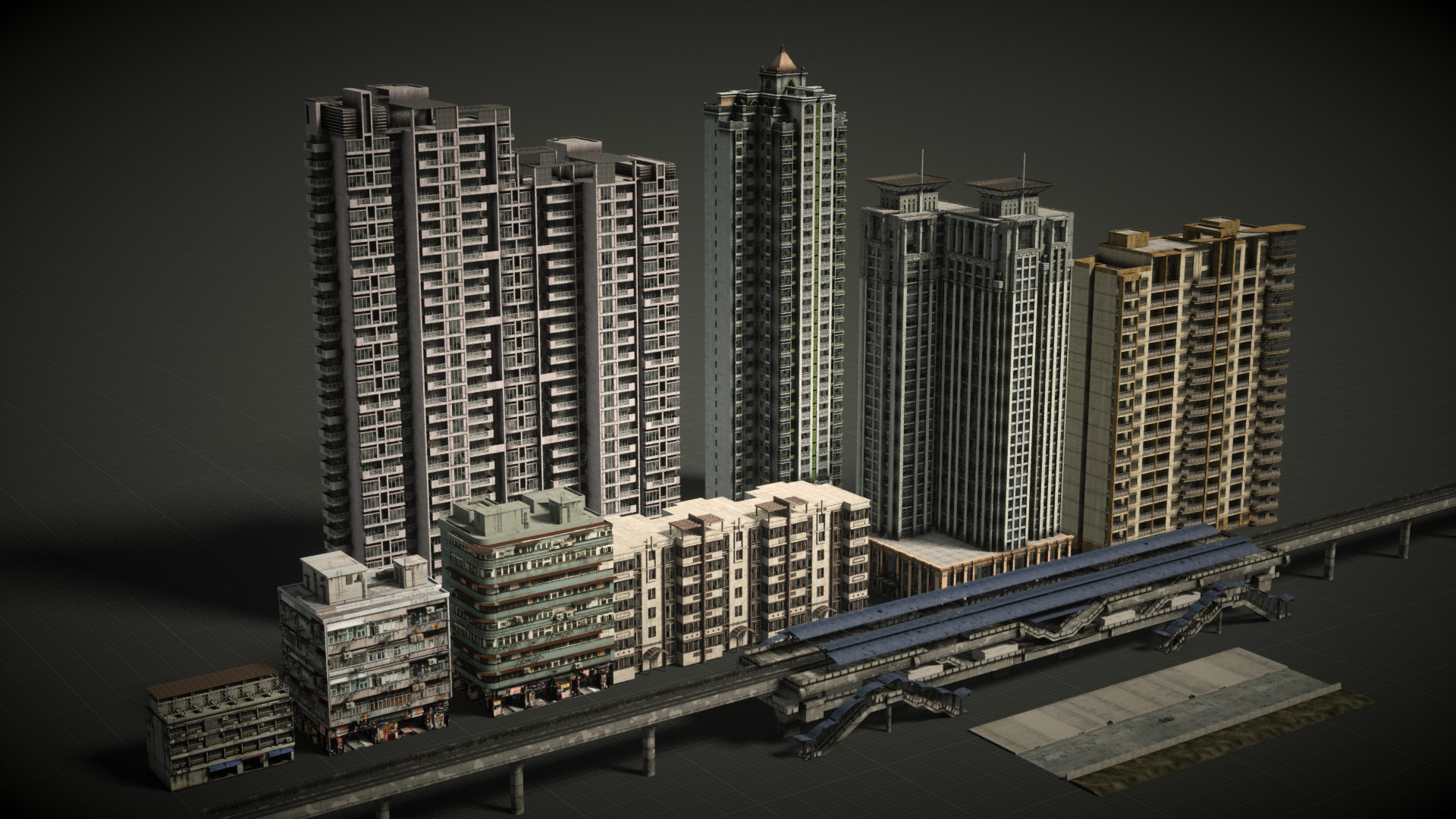 Buildings made myself or from google wharehouse, then textured using procedural shaders