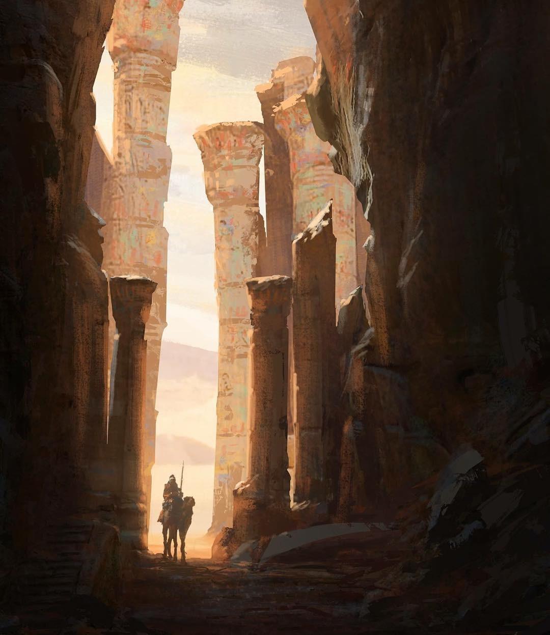 Bayek Exploring Ruins