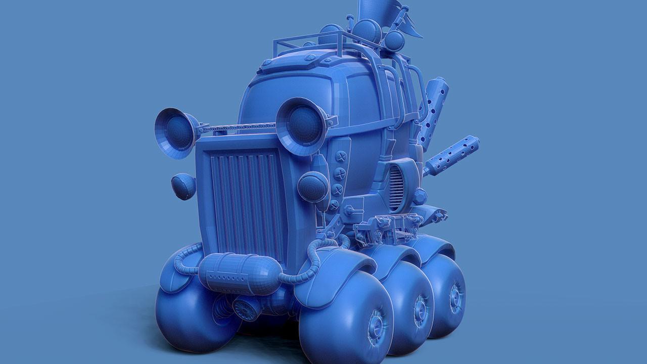 'cartoonish' vehicle (ZBrush Single BPR)