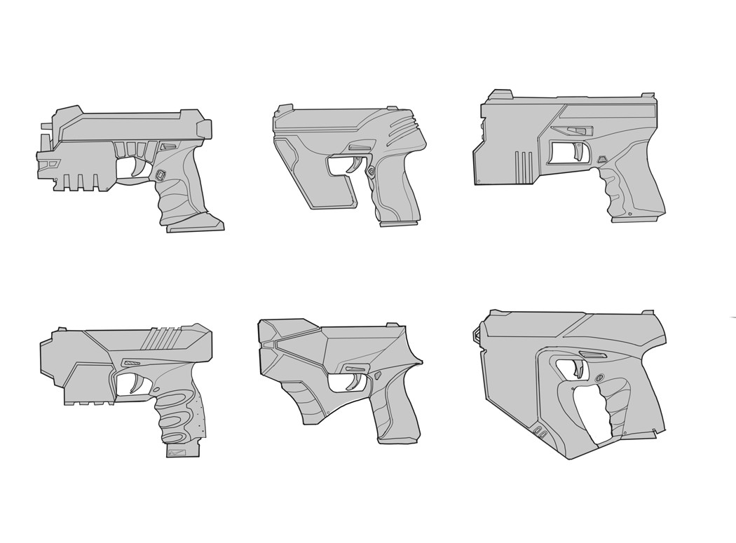Shock pistol designs for the character