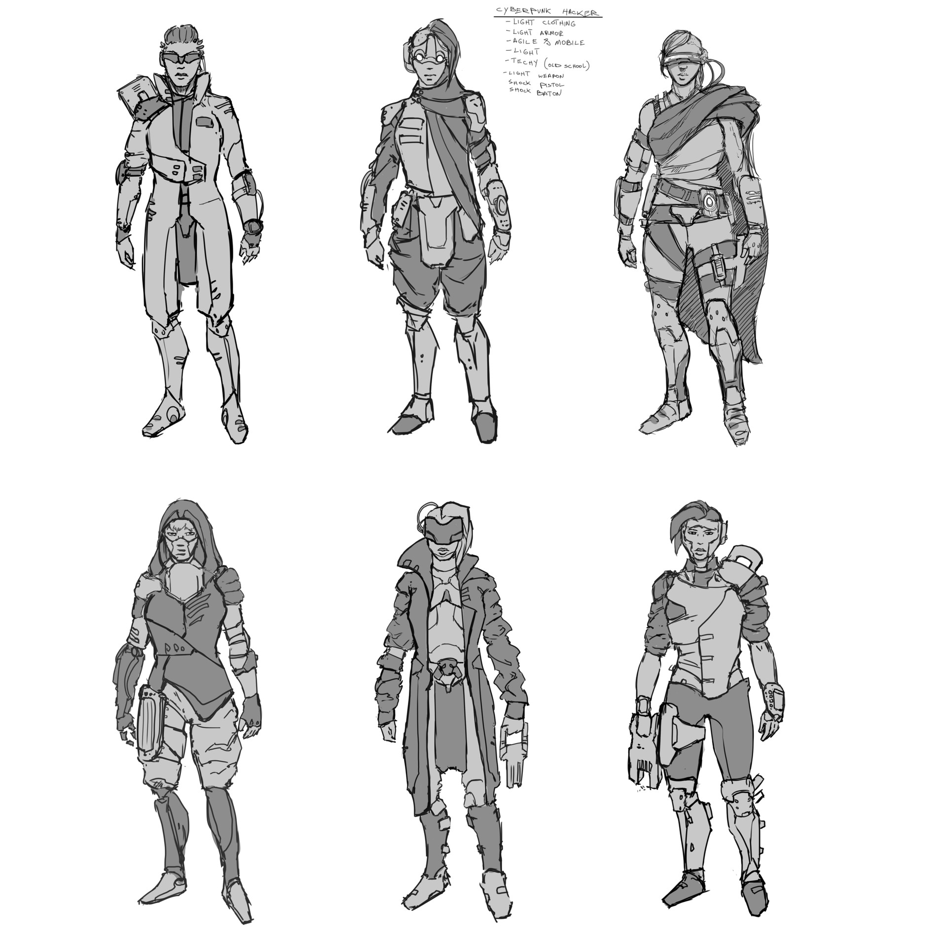 Thumbnail sketches to explore design and style of the character