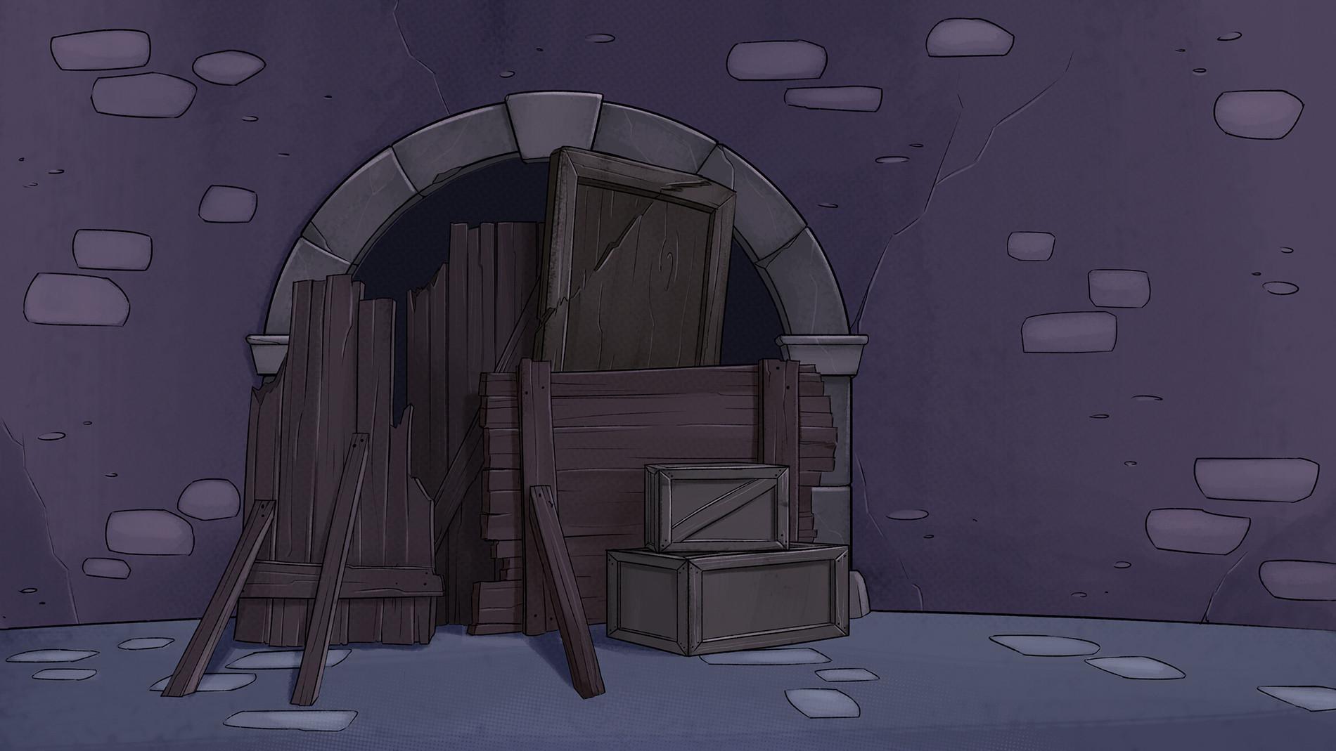 the barricade inside the monastery.