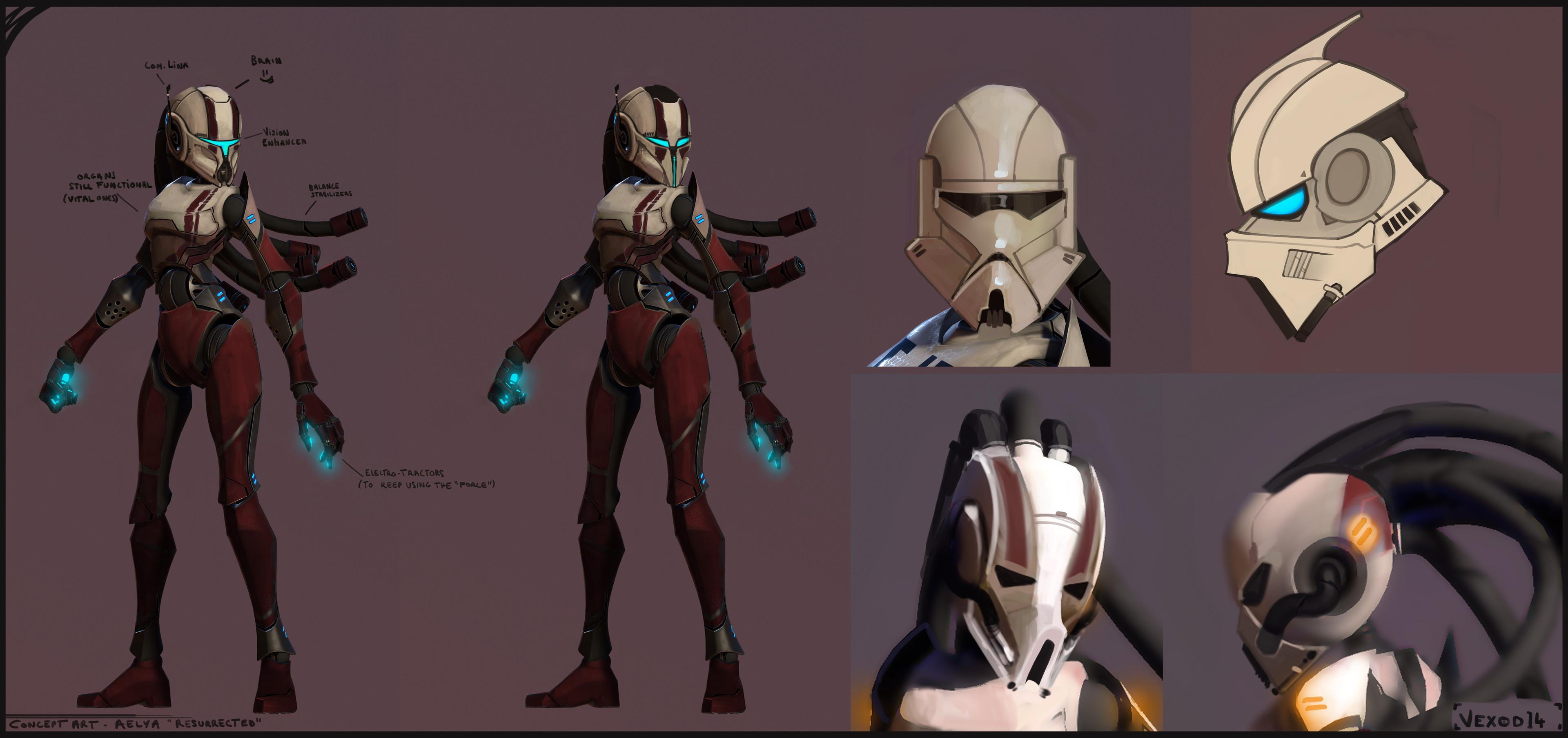 Aelya ( Mevenn's Apprentice ) - Full suit design ( from e-LysE, another character I did here : https://www.artstation.com/artwork/0g0rK )