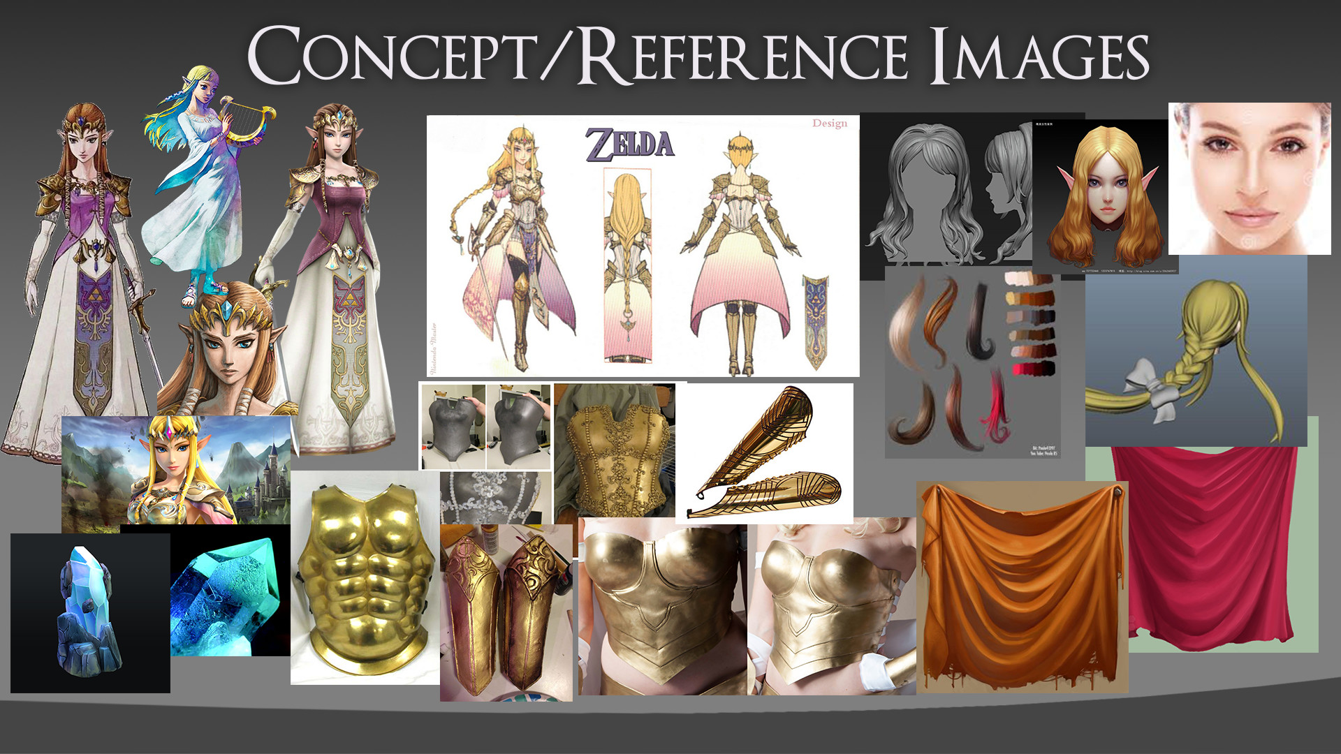 The main concept used was the image at the top middle. The rest of the images were used for design tweaks made to the main concept art and also for texture/colour reference.