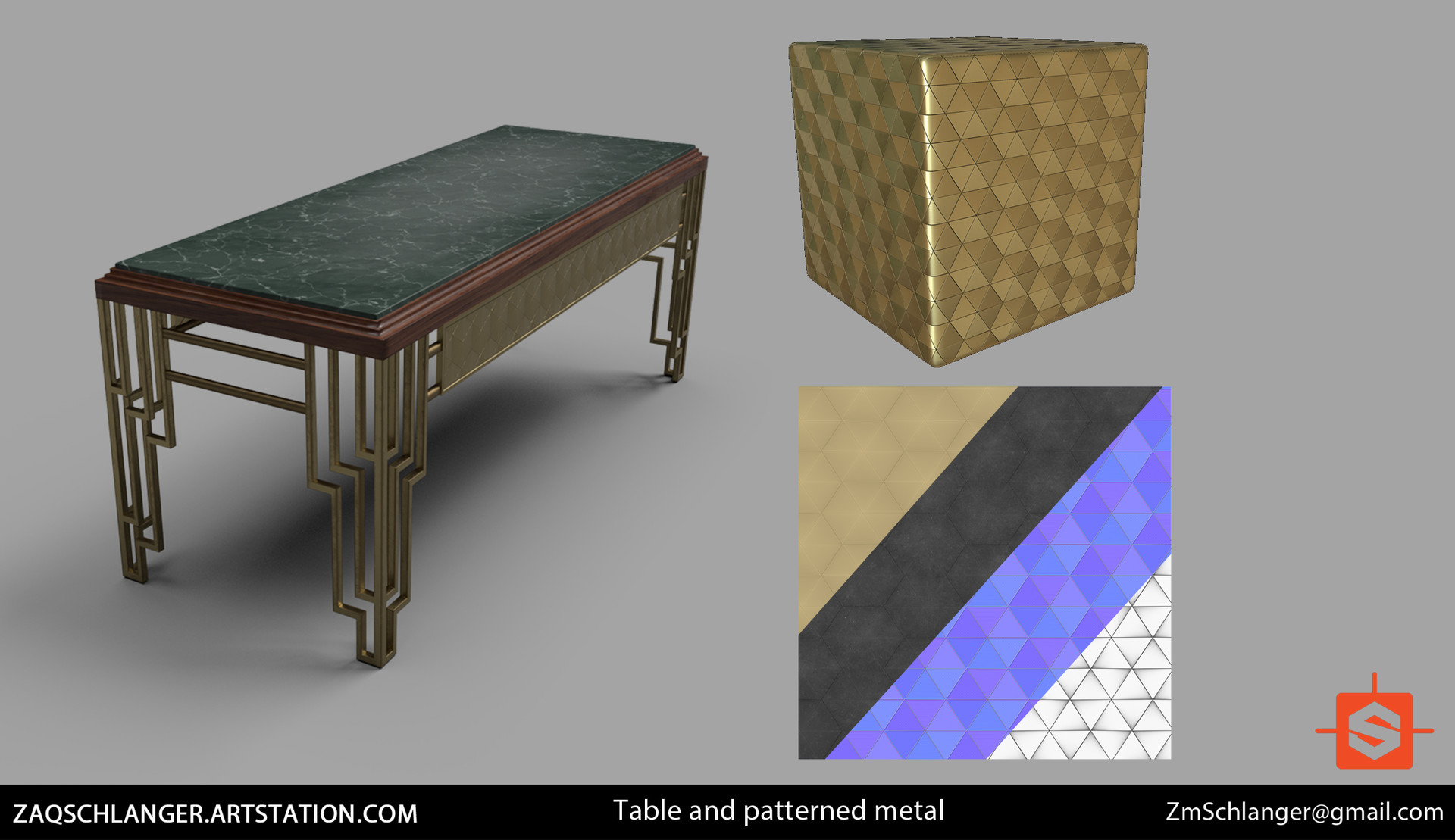 Fully procedural metallic pattern material made in Substance Designer