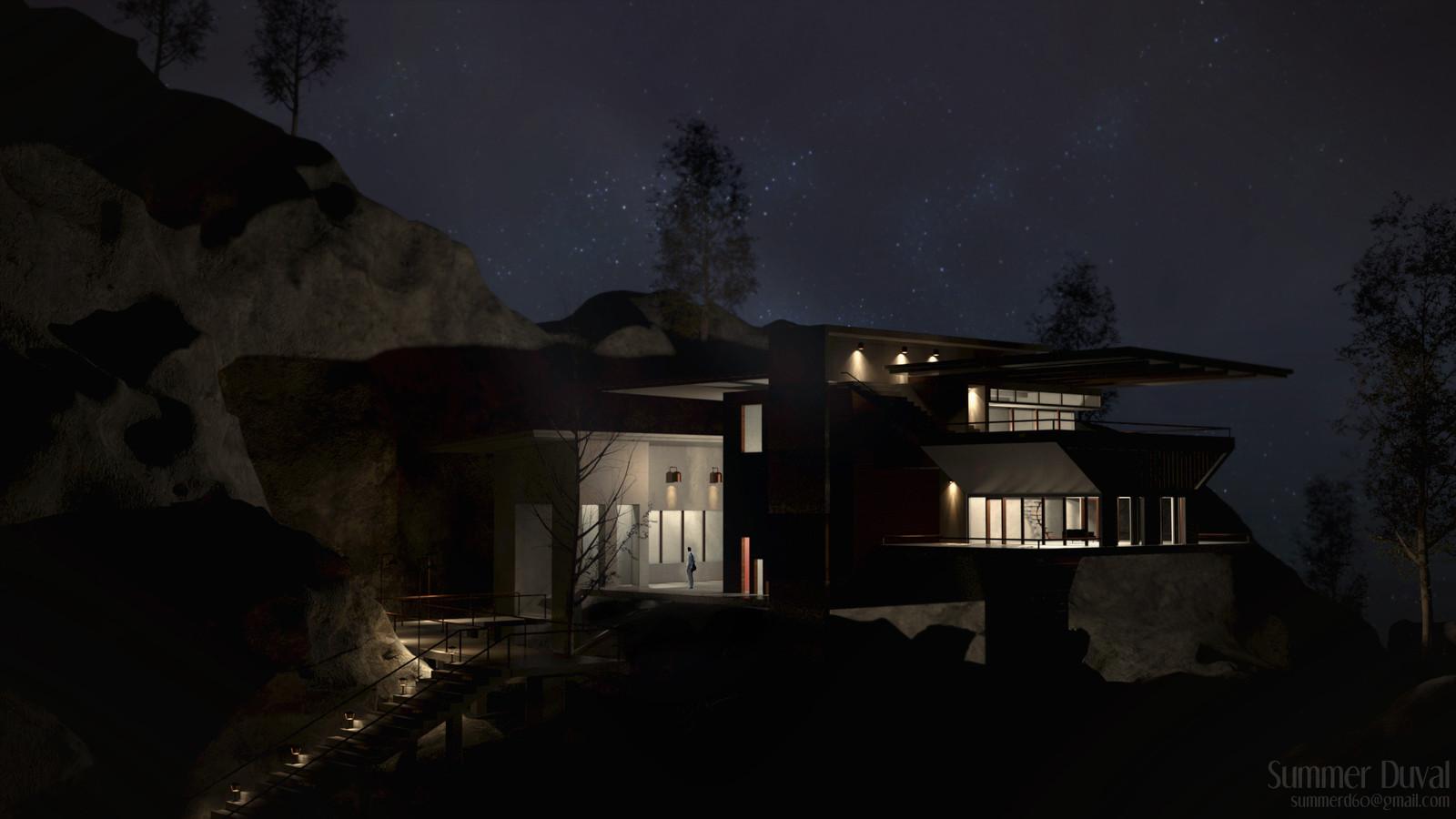 Modern House Night Scene