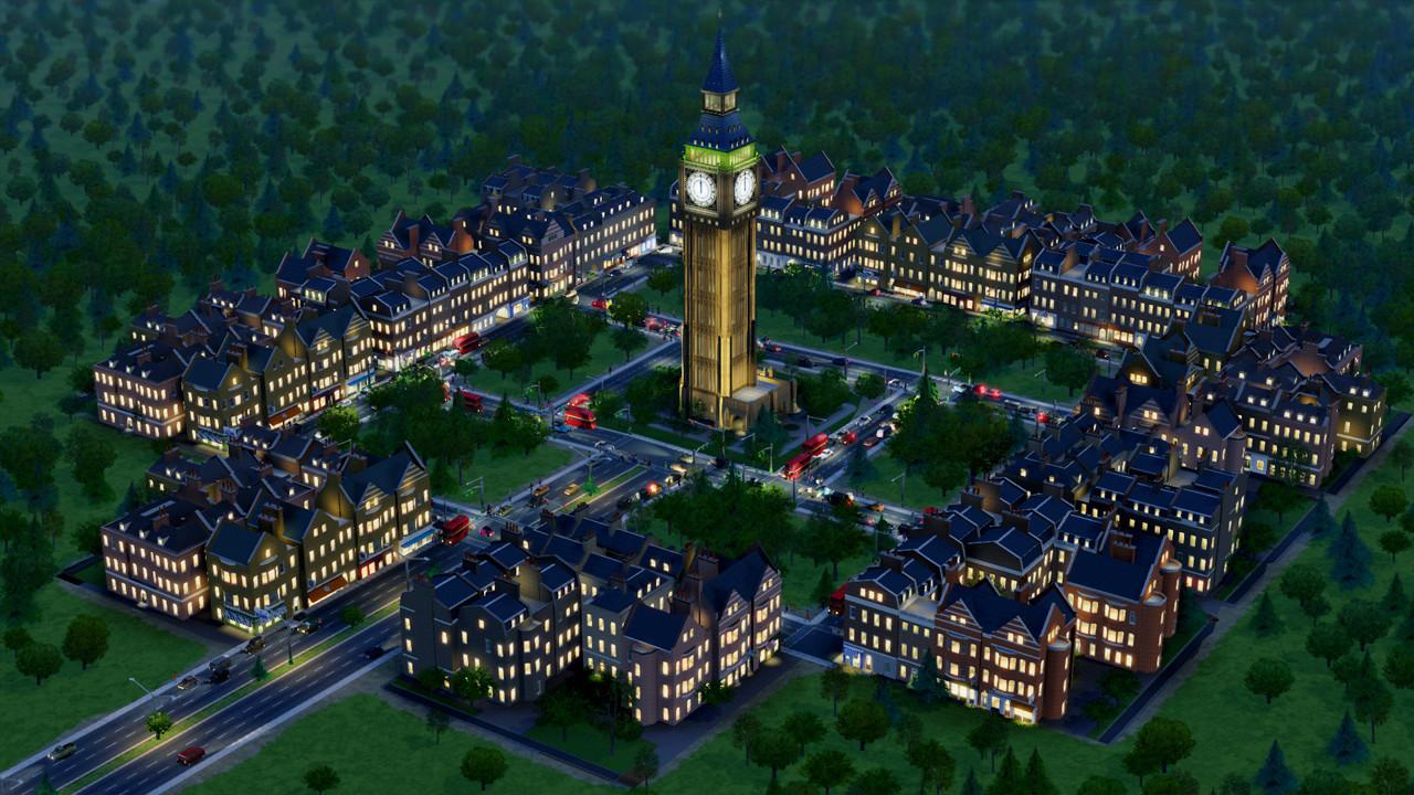 In- game screenshot of the British City DLC buildings