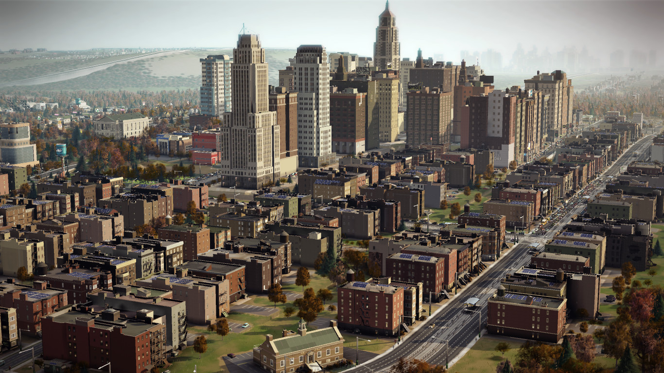 In- game screenshot of a low/ mid wealth residential and commercial area. Image color shifts were done in game with CLUTs (accessible in the settings menu)