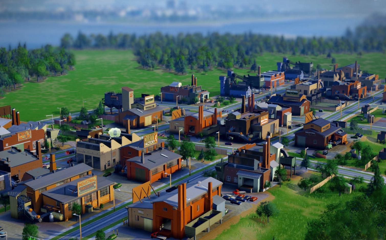 In- game screenshot of a low- density, low- wealth, industrial buildings