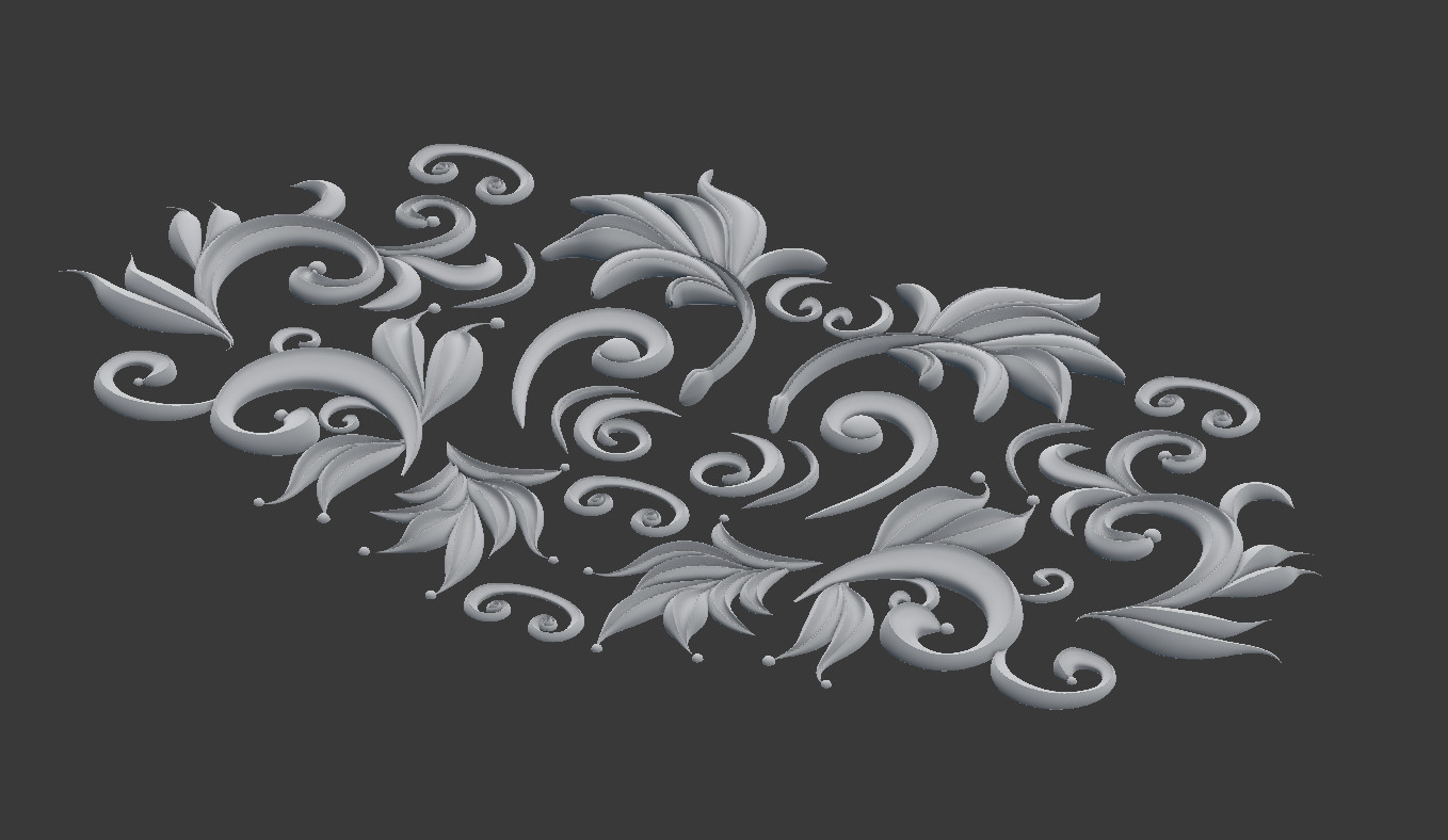 Scroll work sculpted in Blender using beveled and tapered curve objects, baked onto flat surface.