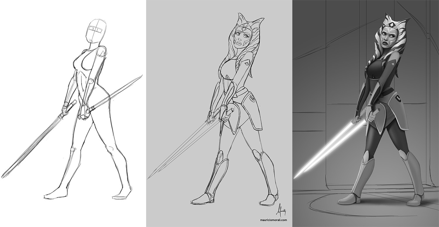 This are the main steps I took. From defininf the pose with a very basic sketch, defining the features and the outfit and then to adding volumes in grayscale before proceeding to coloring.