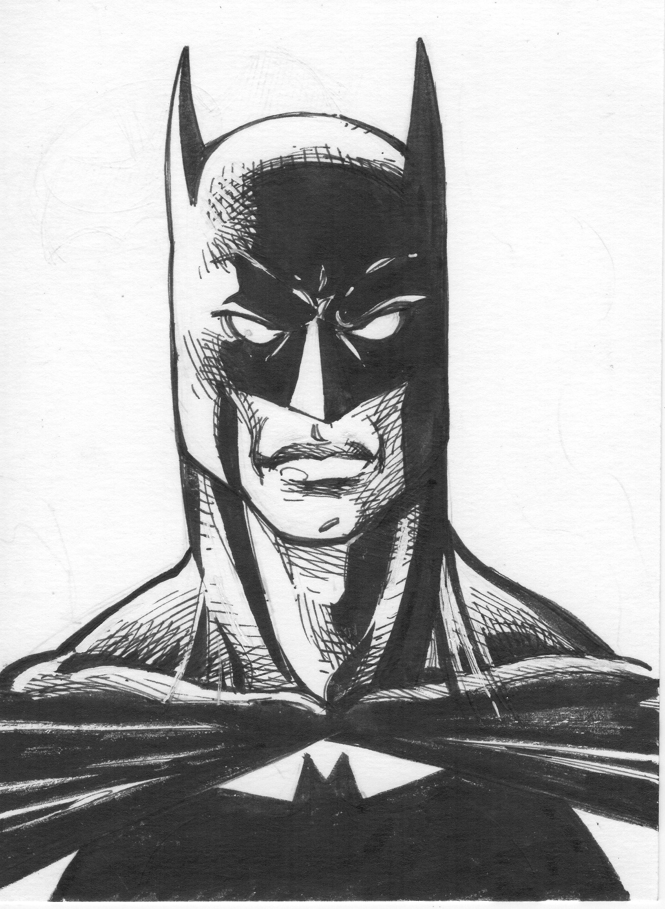 Pen and ink Batman