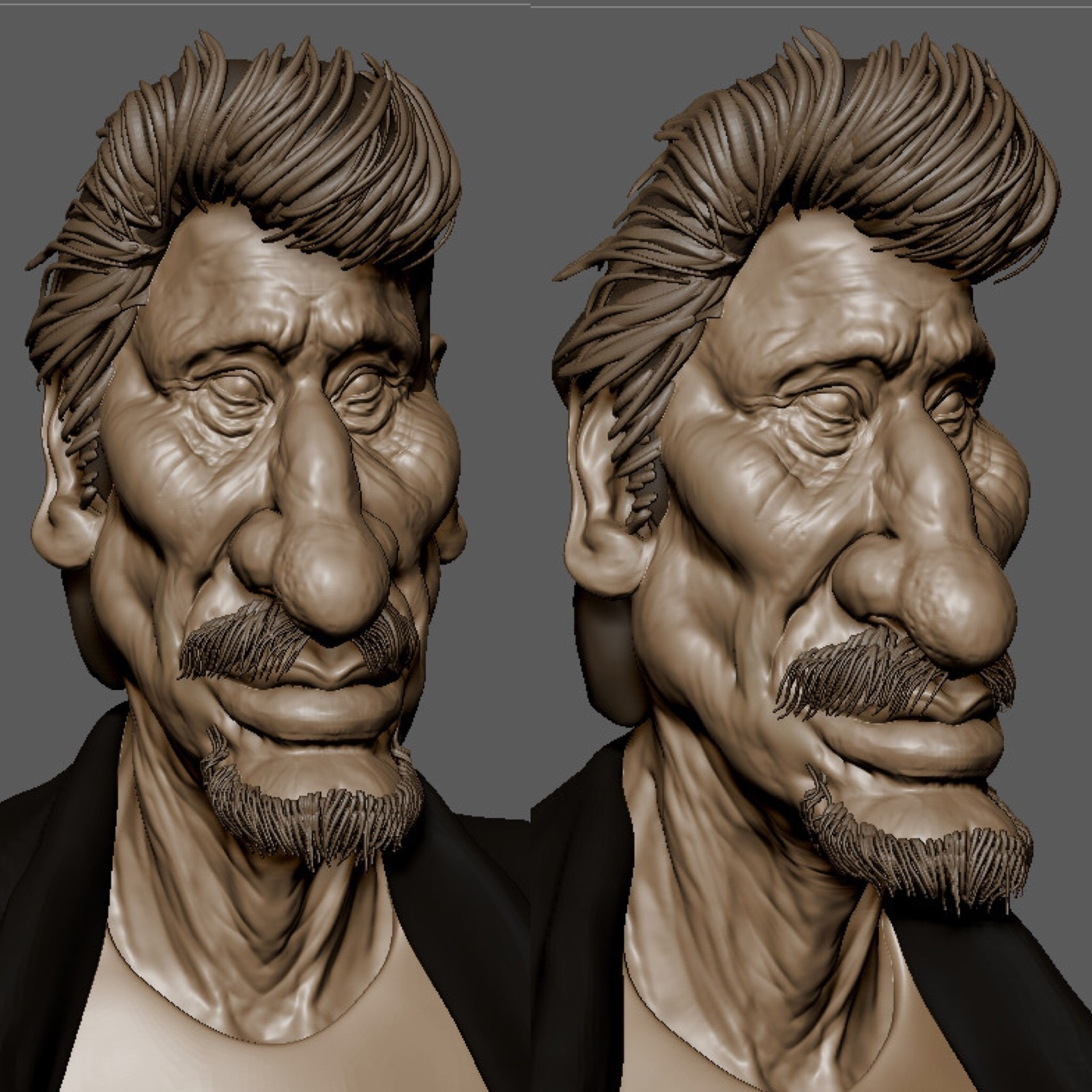 speed sculpt 1h45 of Johnny Hallyday RIP caricature