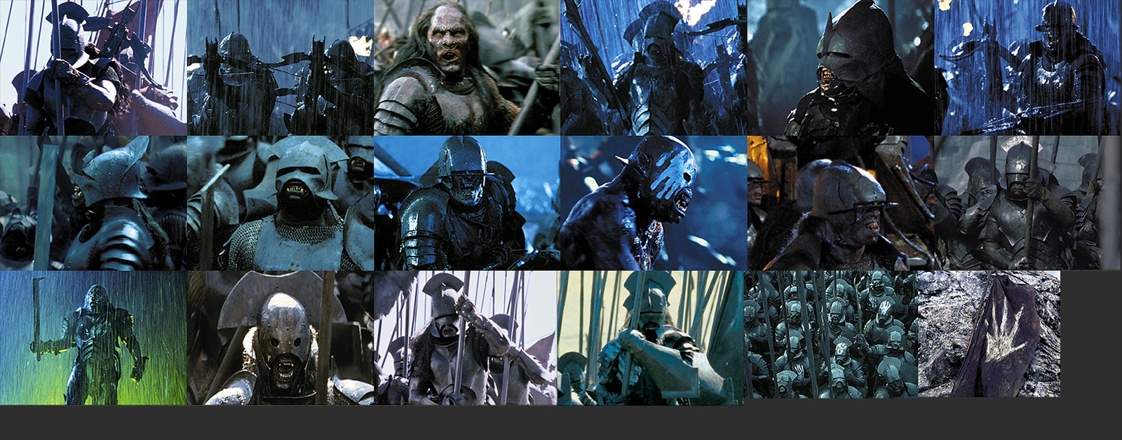 Uruk-hai variants from within the movie
