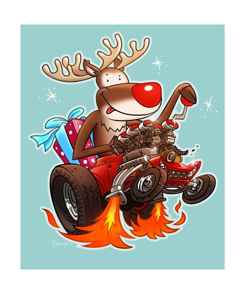 ArtStation - Christmas Hot Rod Card, Chris Drysdale
