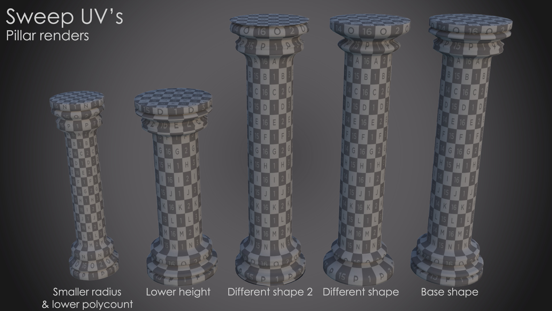 Renders of the sweep uv columns