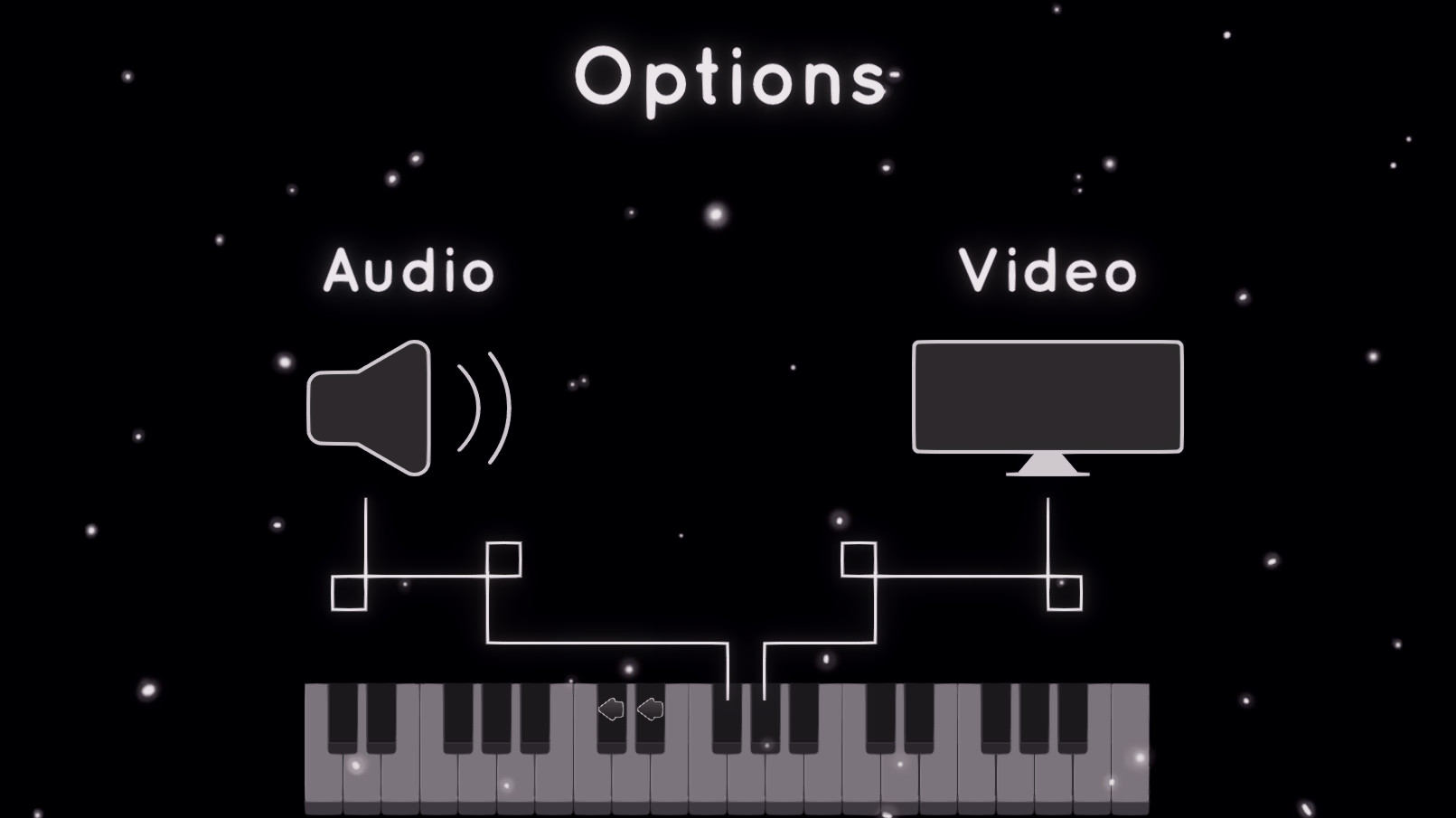 Options Menu. This is where the player can pick to edit audio or video options.