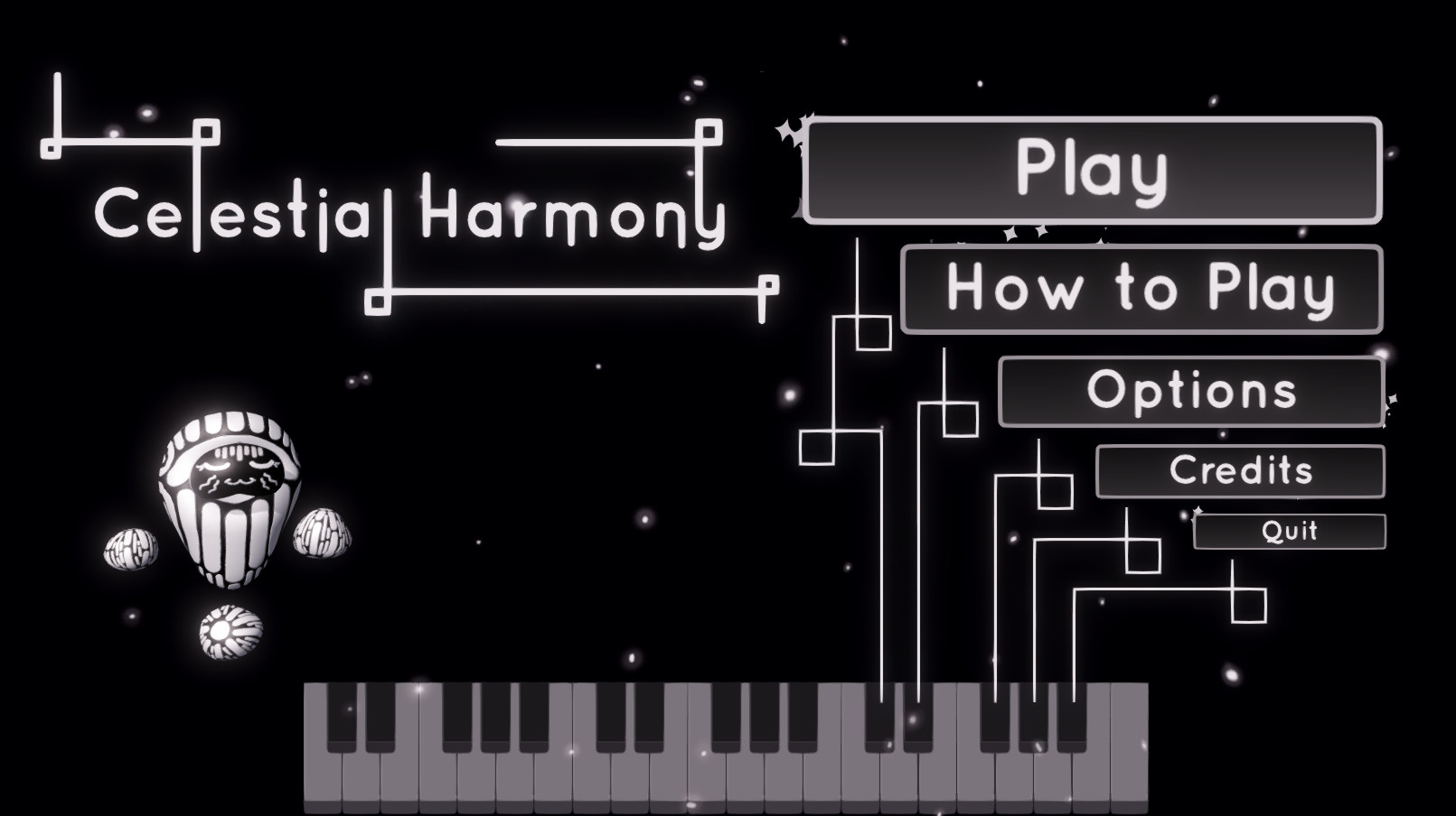 Main Menu Screen. The piano stays consistent throughout all screens. All menu options are mapped to a black key on the piano. Star particle effects go around the menu options here.
