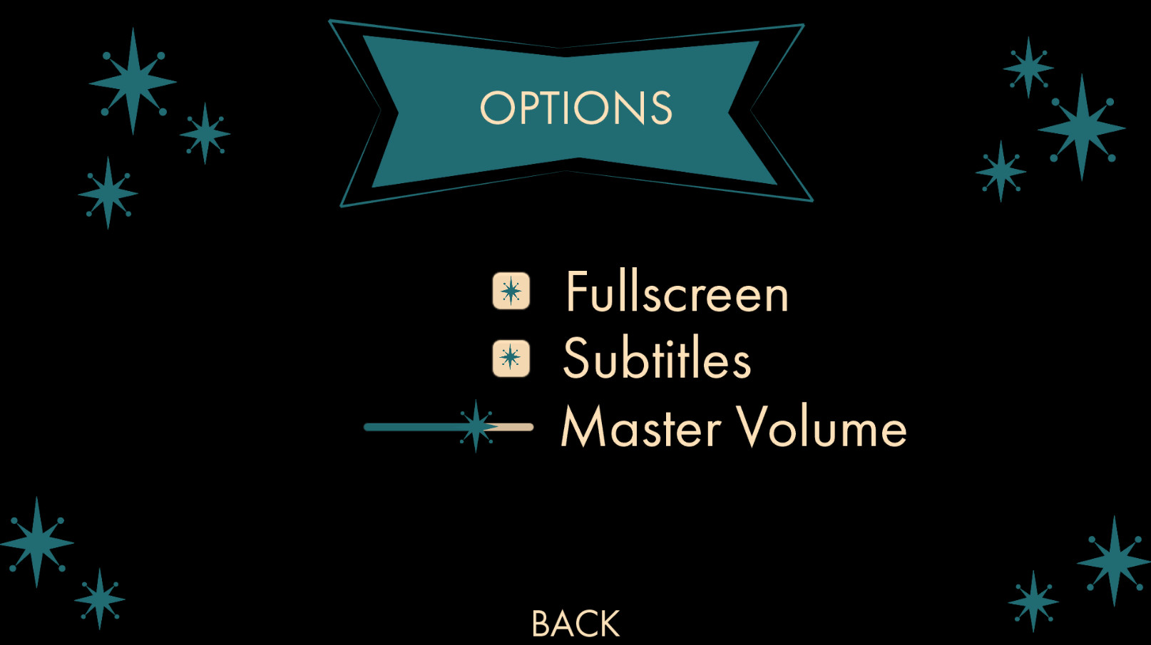 Options Menu includes a toggle for Fullscreen and Subtitles. There is also a slider for the Master Volume.